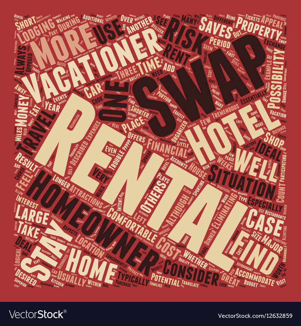Rental Swaps text background wordcloud concept vector image