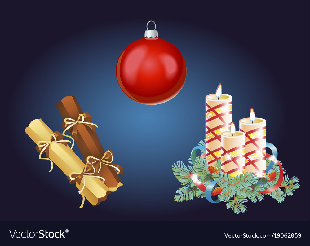 Set of christmas and new year decoration and