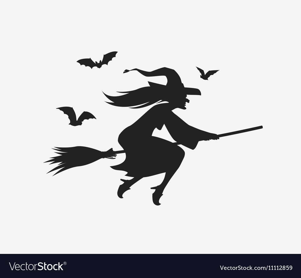 silhouette witch flying on broomstick halloween vector image