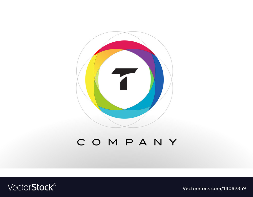 T letter logo with rainbow circle design