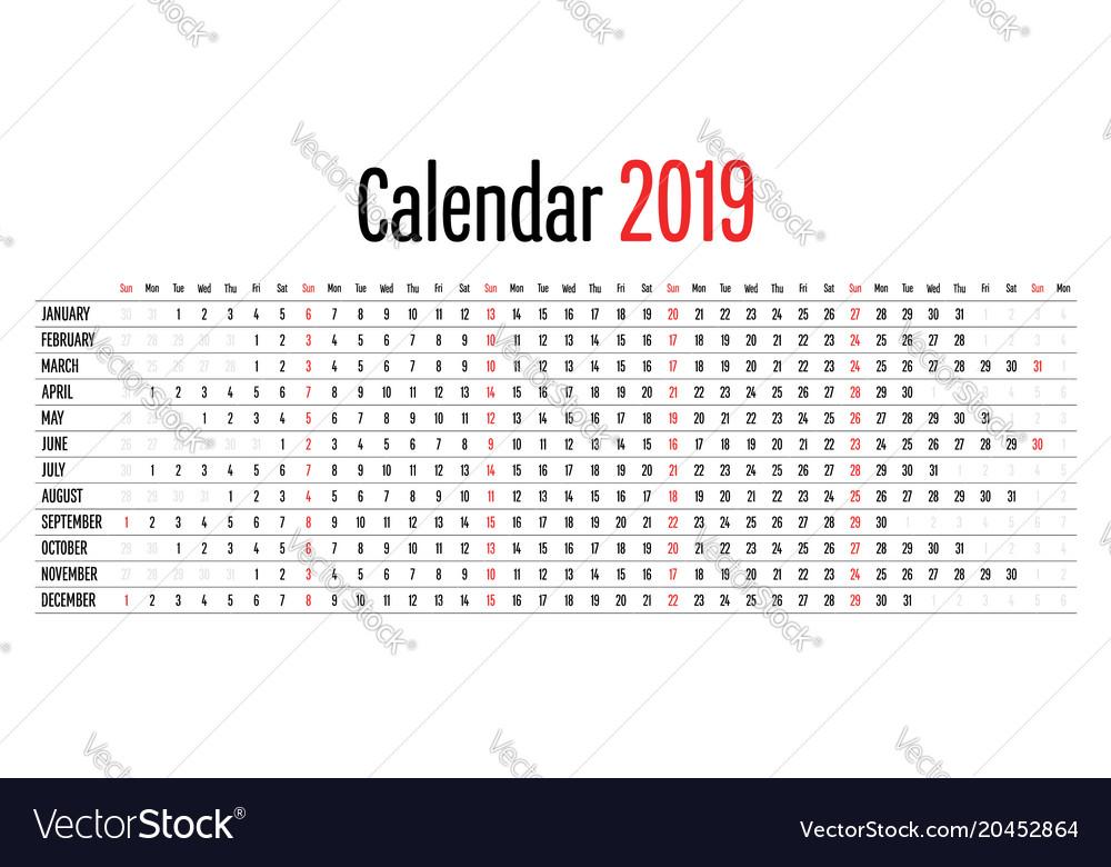 2019 Calendar Horizontal 2019 calendar design horizontal dimension template