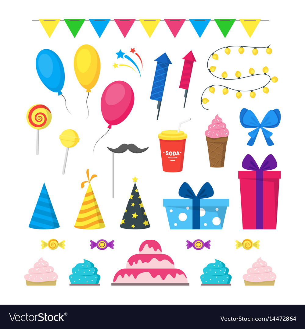 Cartoon party holiday color icons set
