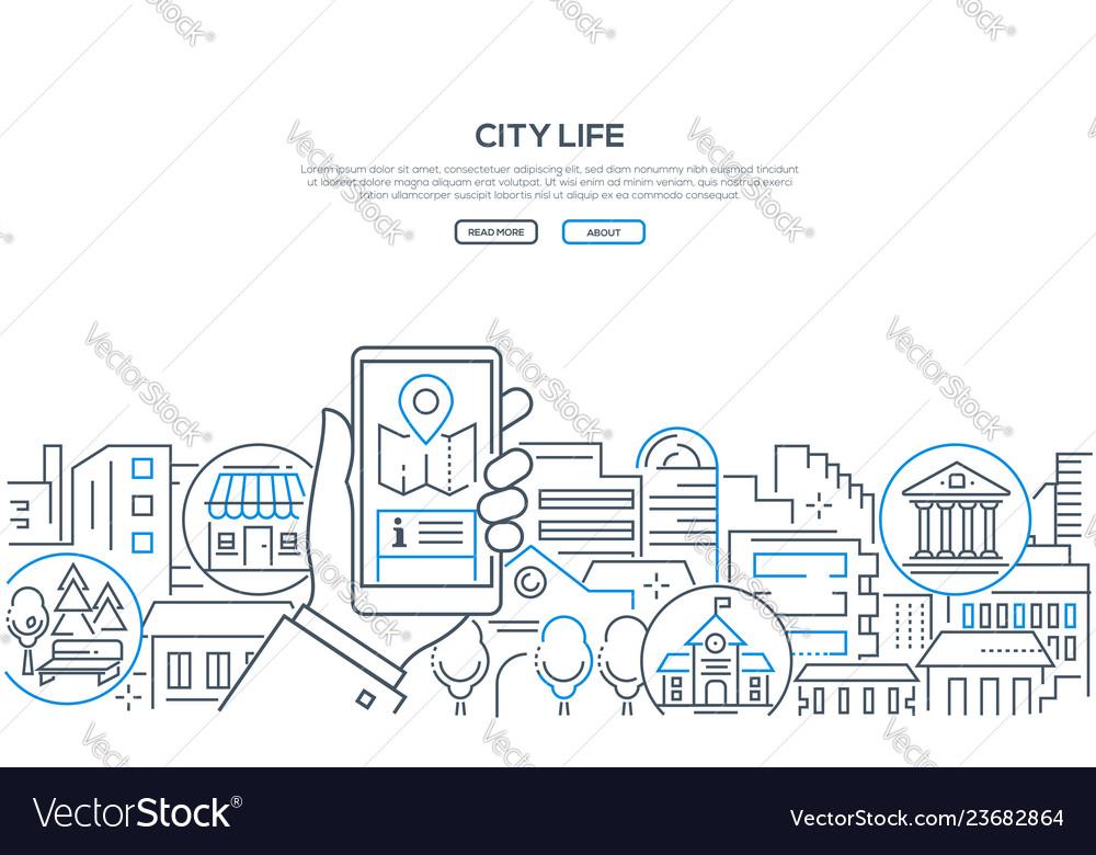 City life - modern line design style web banner