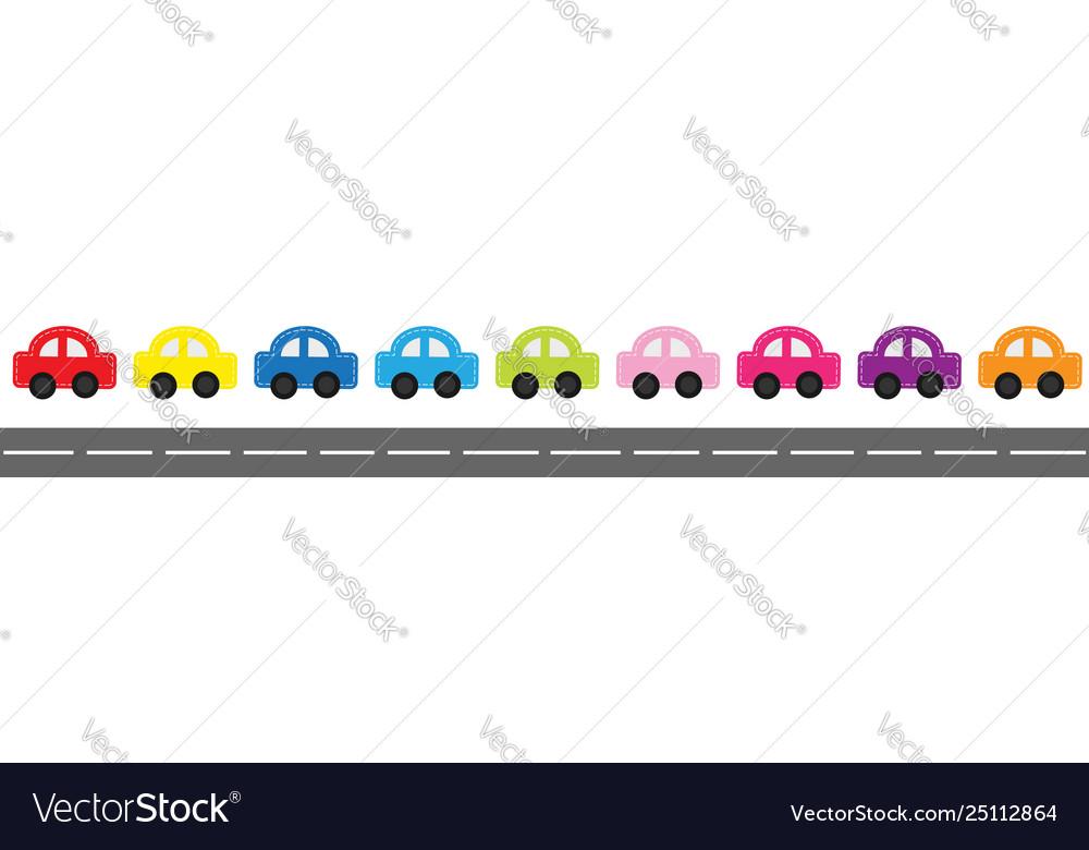 Cute cartoon car set with dash line and
