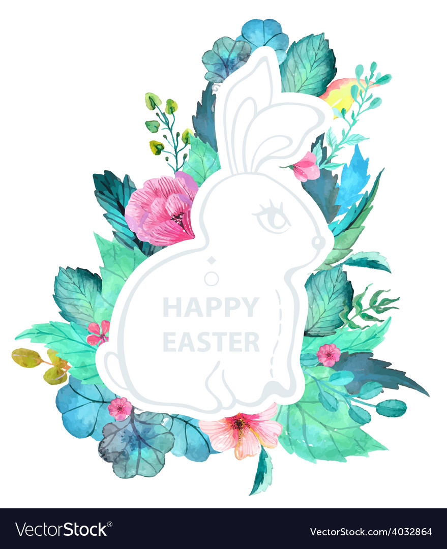 Easter watercolor natural with rabbit sticker