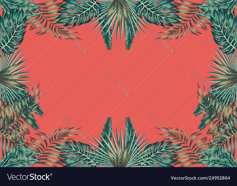Floral botanical border coral background
