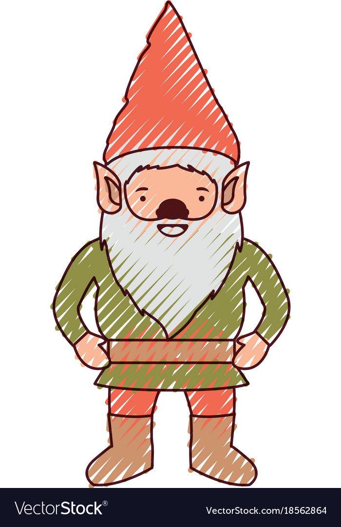 Gnome with costume in colored crayon silhouette
