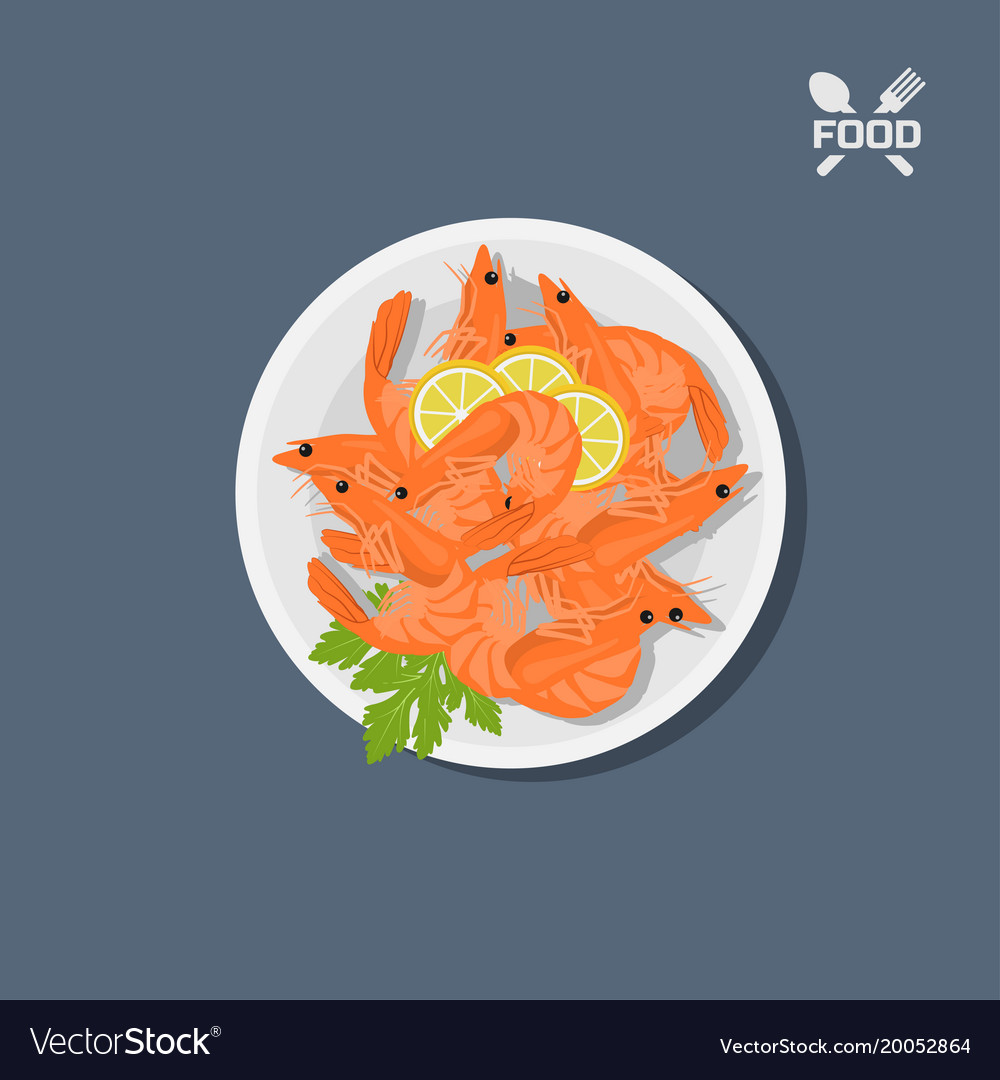 Icon of shrimps with lemon on a plate top view vector image