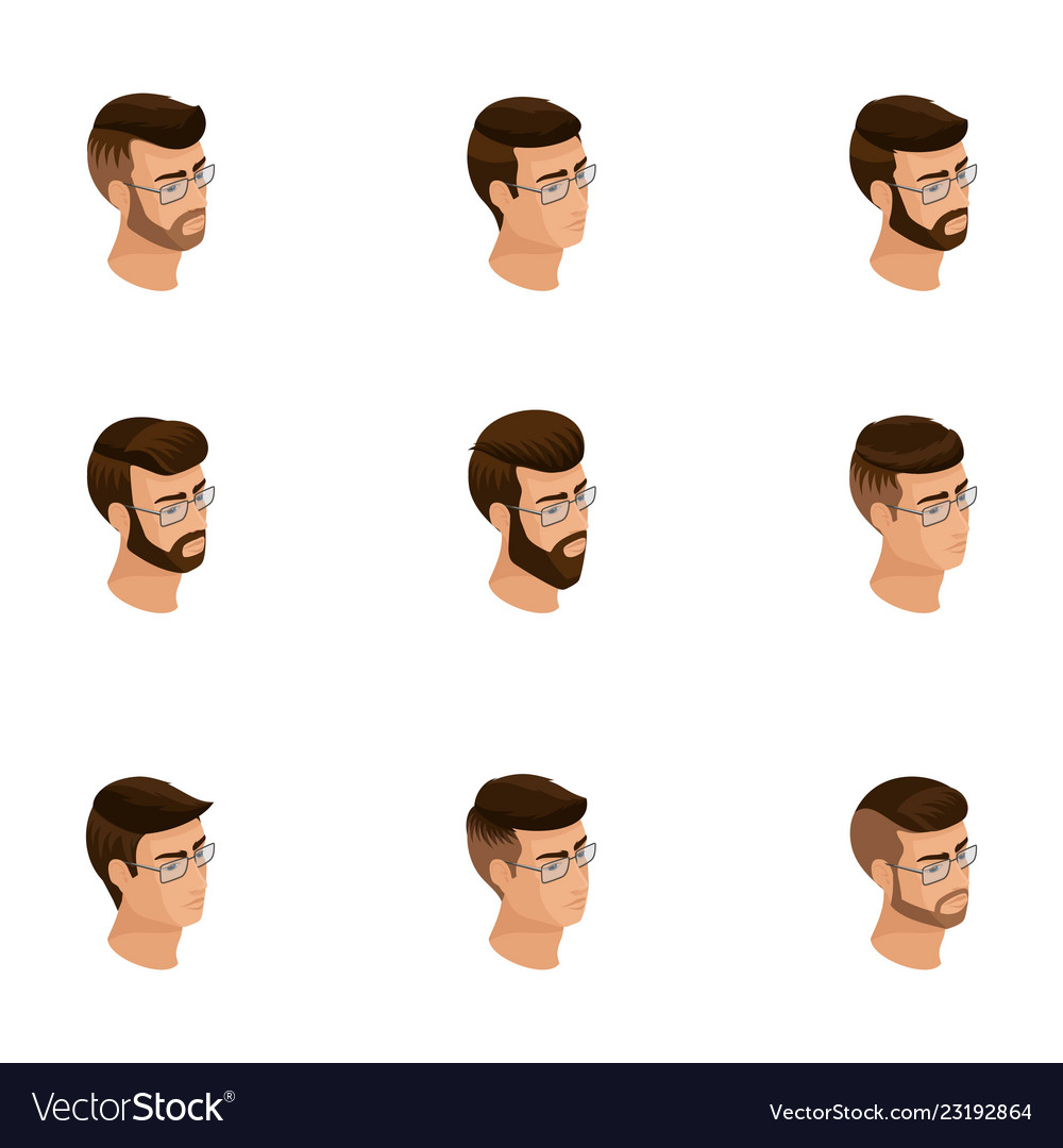 Isometric icons of head hairstyles 3d emotions