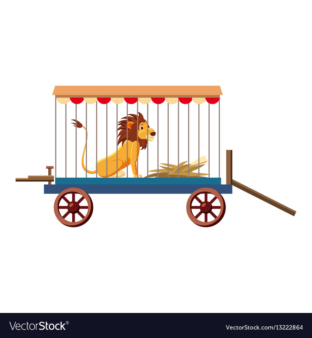 Lion in cage icon cartoon style