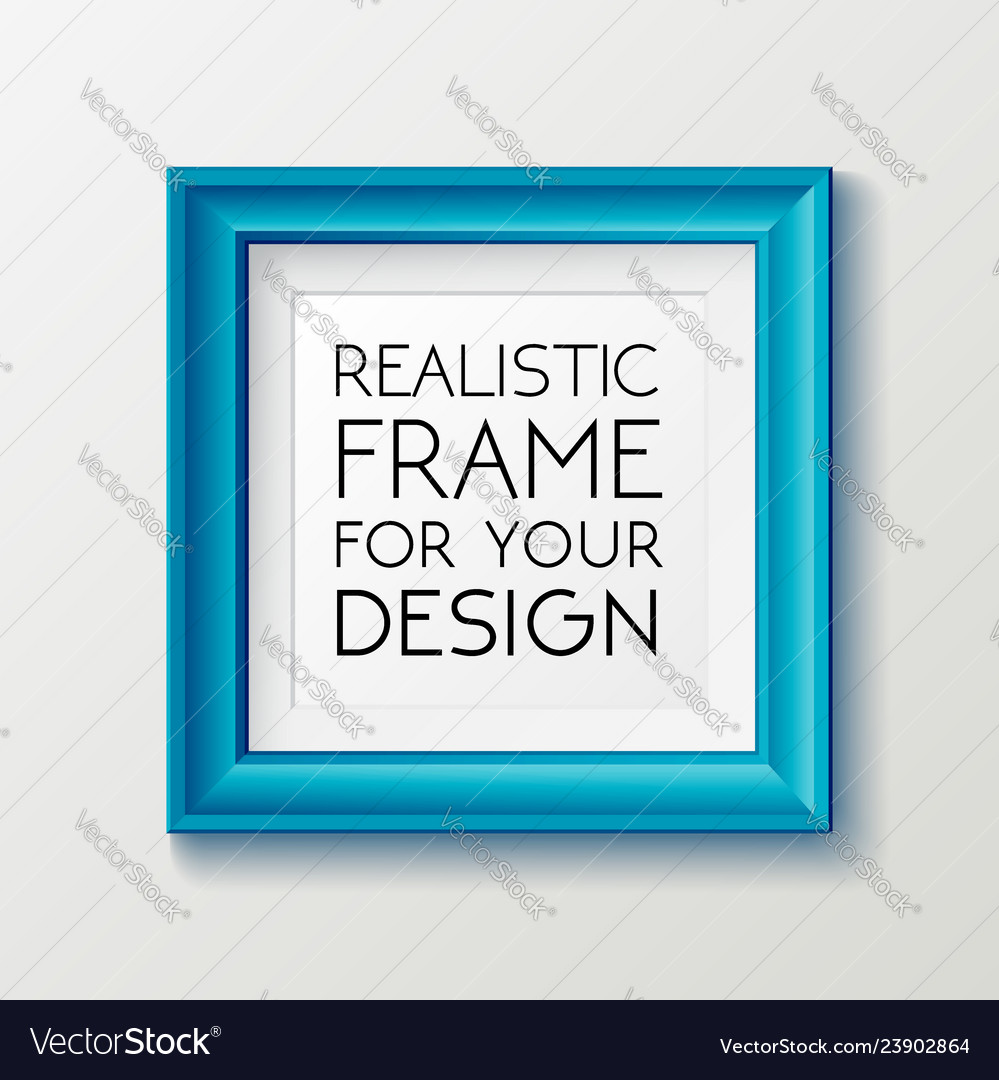 Realistic square blue frame template frame on the