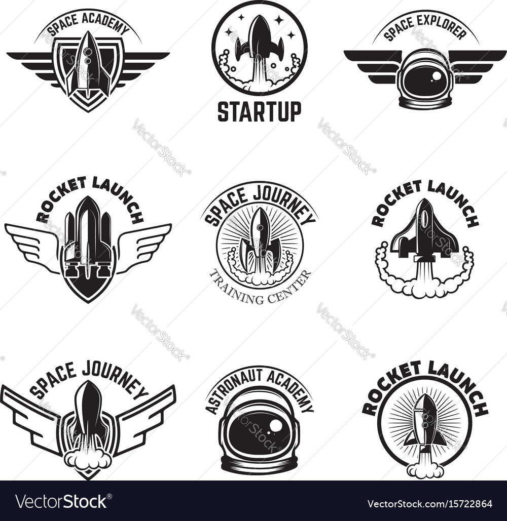 Set of space labels rocket launch astronaut vector image
