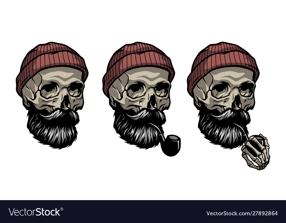 Skull a sailor in a knitted hat and with a