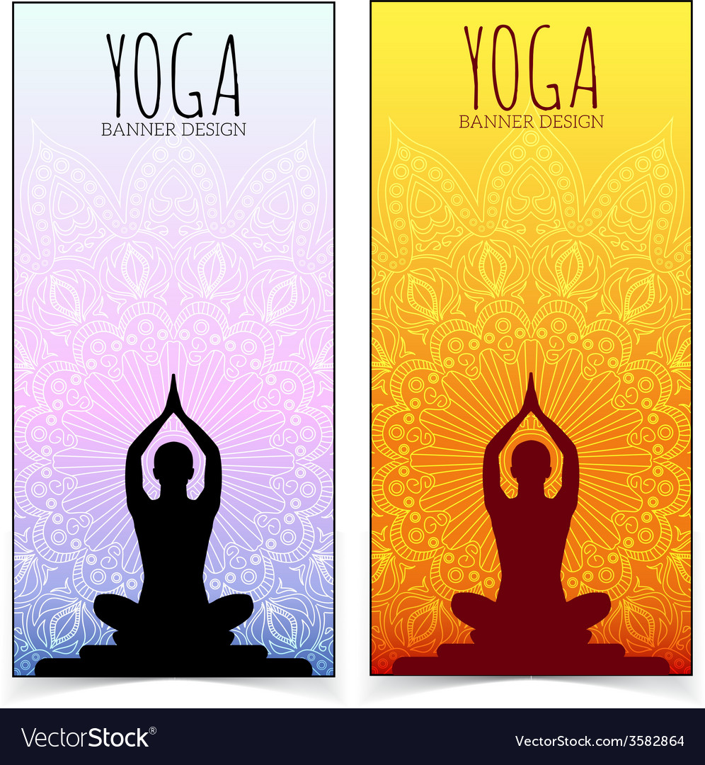 Yoga Banner Collection Royalty Free Vector Image