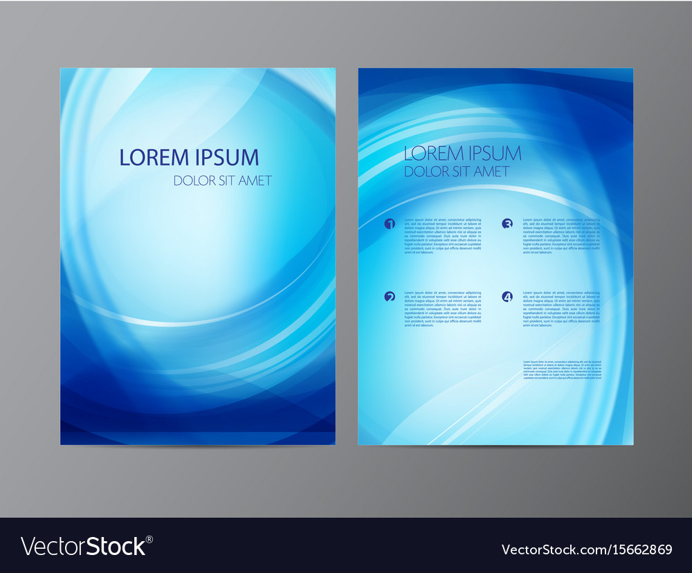 Abstract modern wavy blue flowing flyer