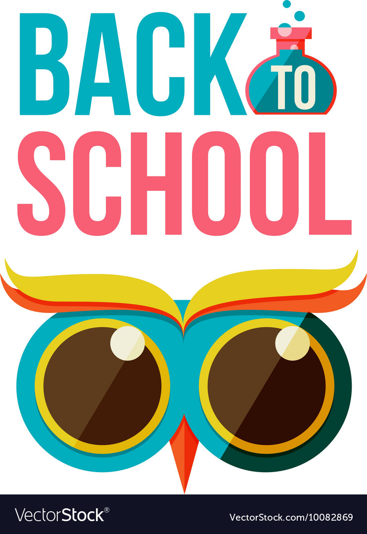 Back to school poster with owl head