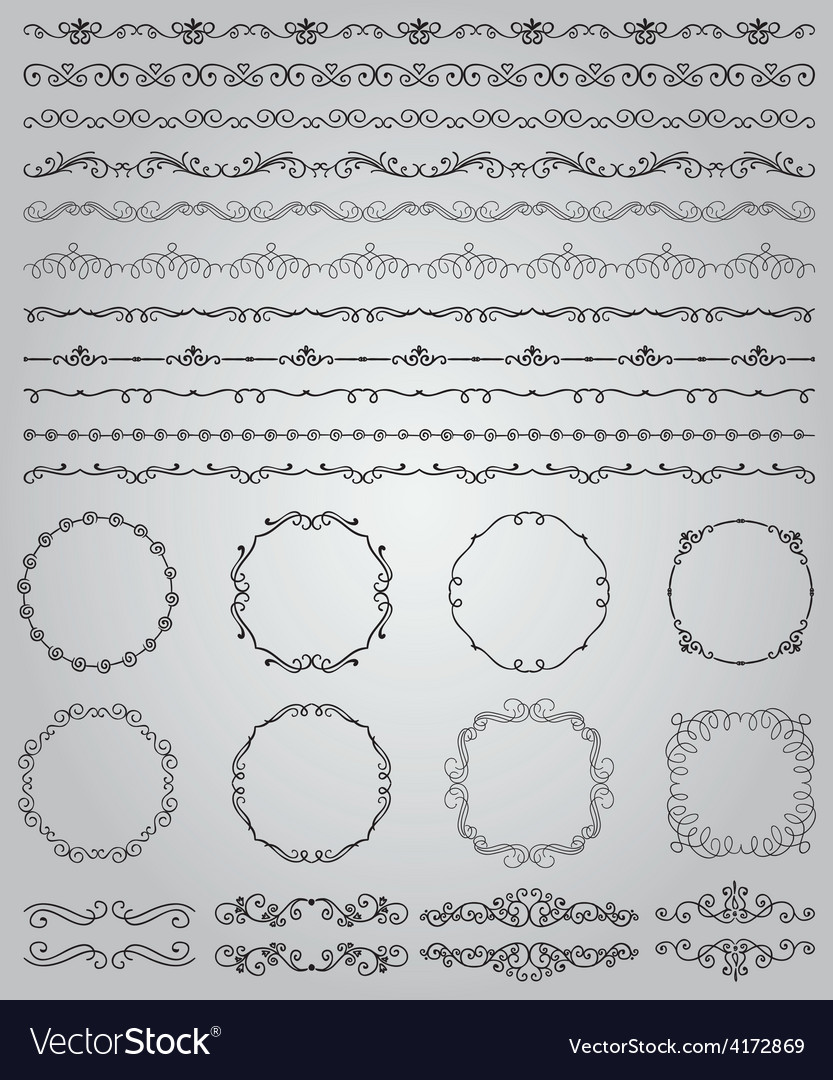Black Hand Drawn Doodle Borders and Frames