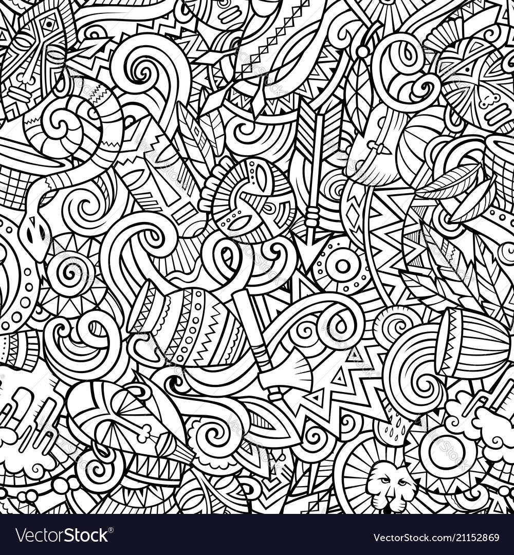 Cartoon cute doodles hand drawn africa seamless