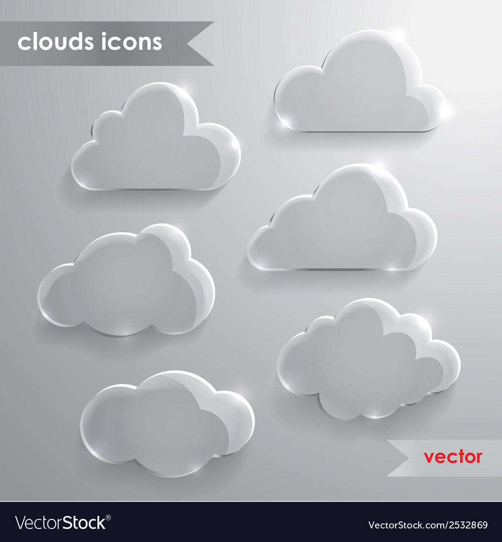 Cloud icons with long shadow