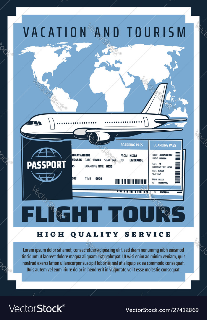 Flight tours vacation boarding pass and tickets