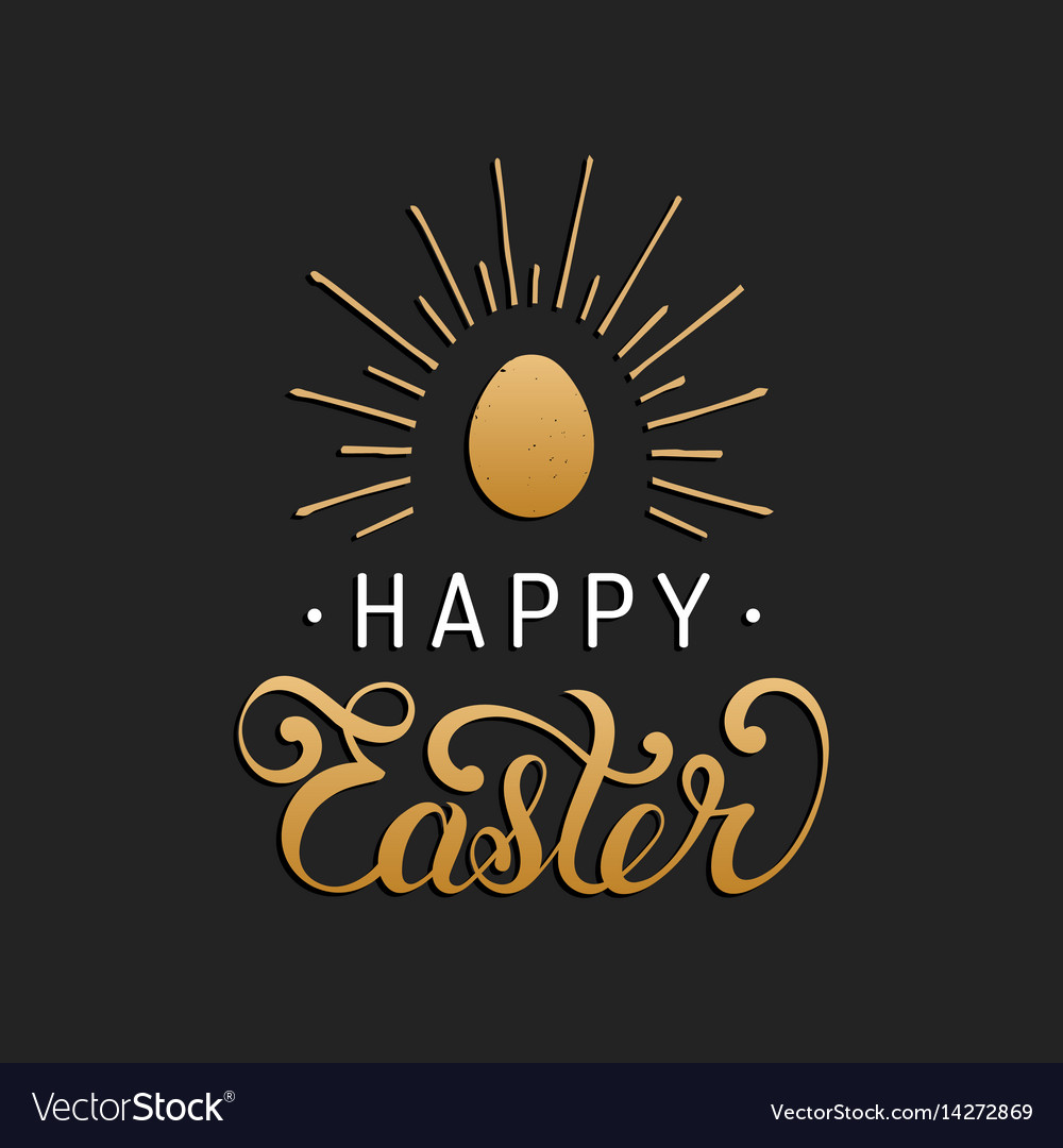 Happy easter type greeting card with egg