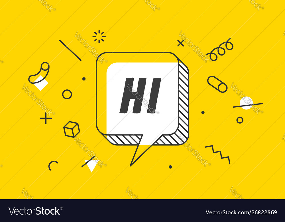 Hi banner speech bubble poster and sticker