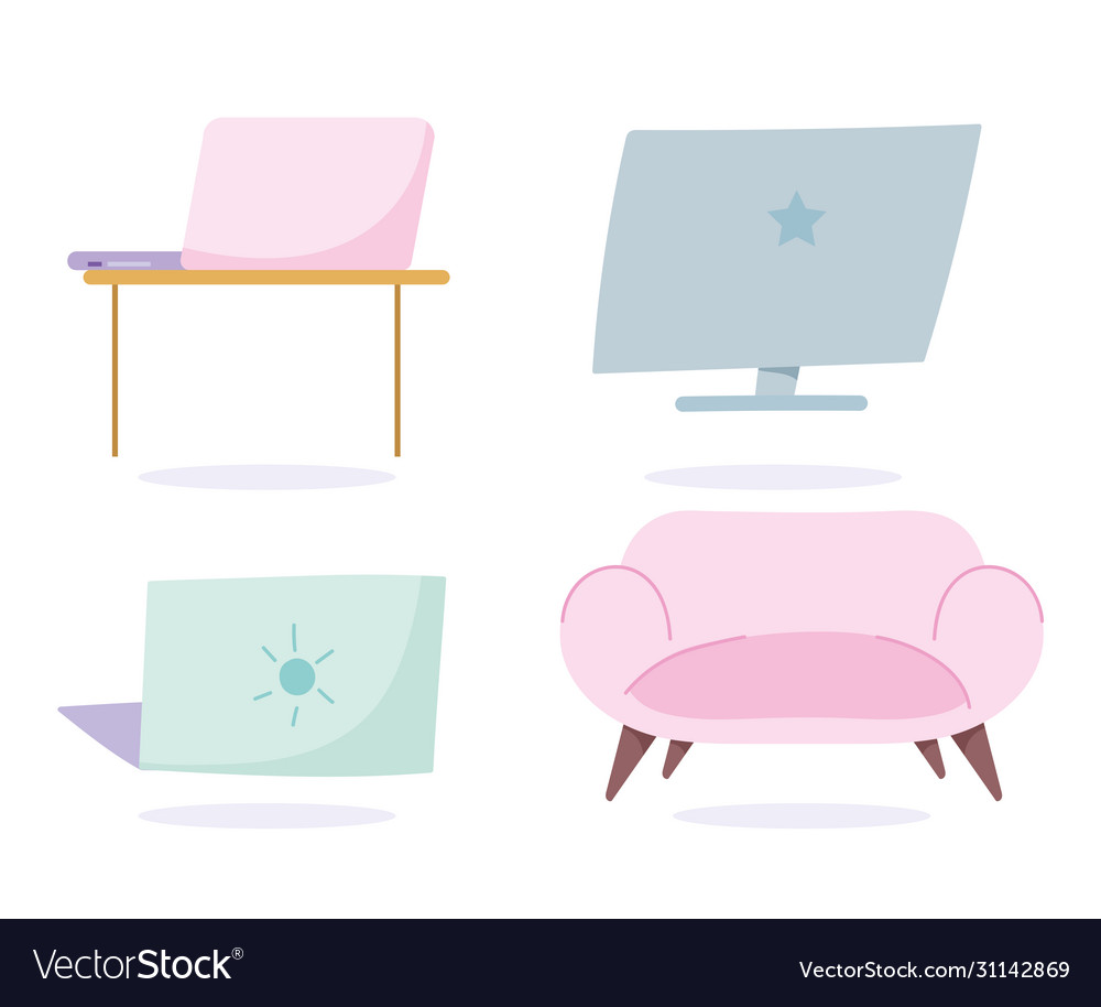 Laptop computer desk and sofa decoration work