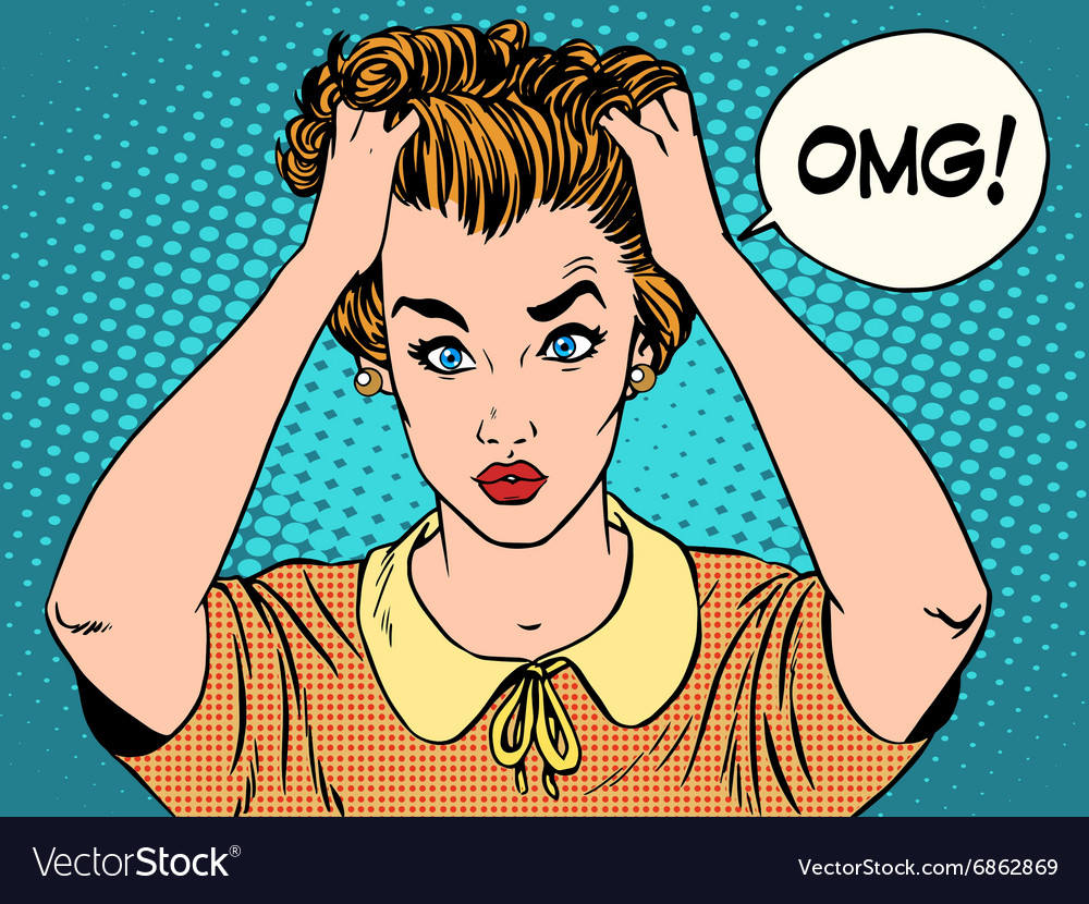 OMG the woman in shock vector image