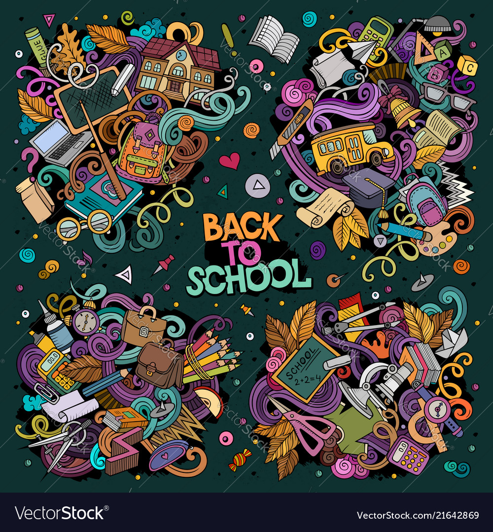 Set of back to school combinations of