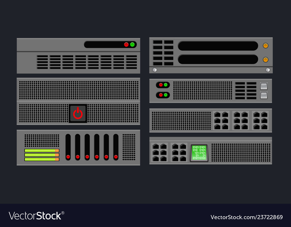Set of computer server vector