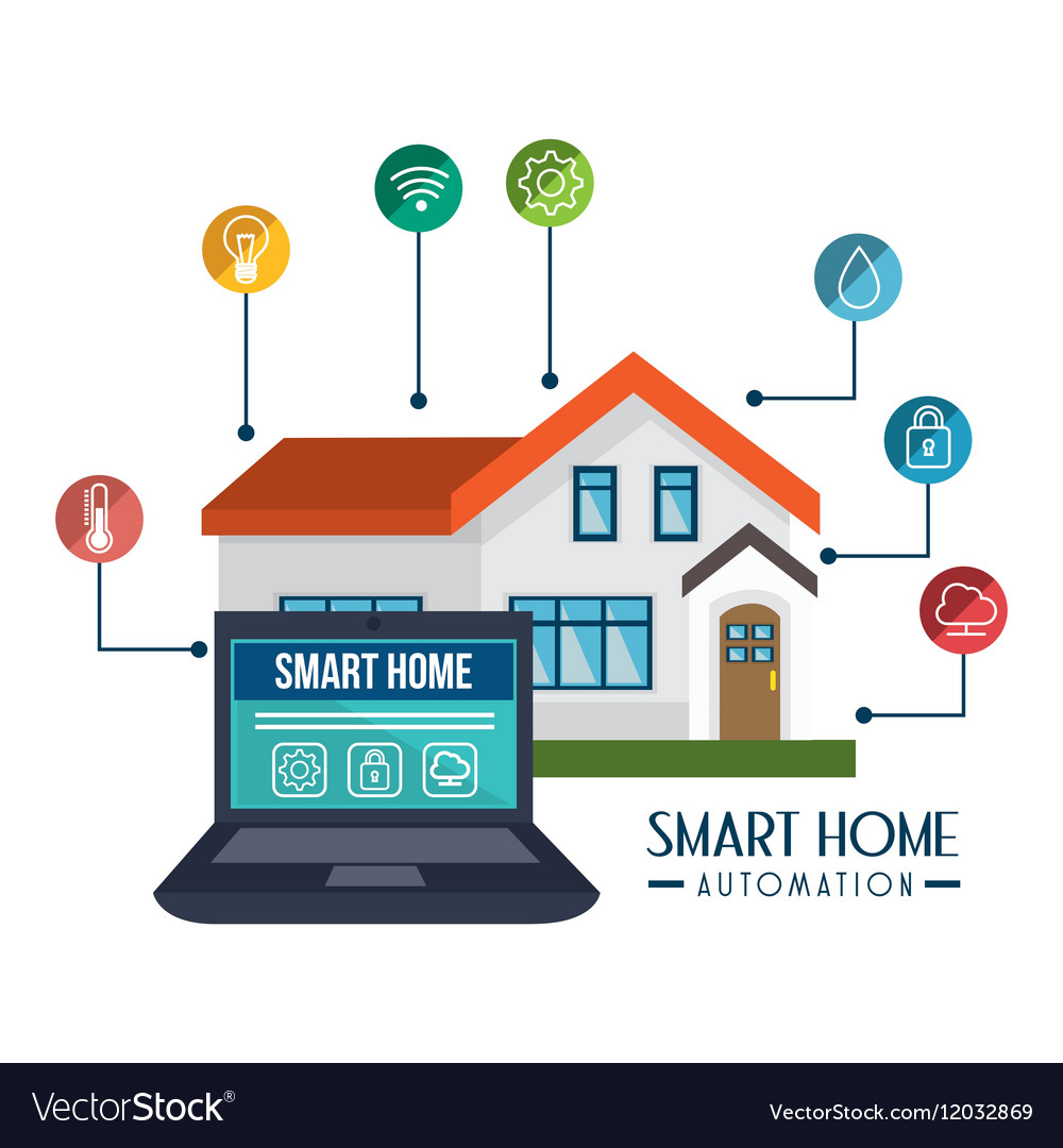 Smart home technology icon Royalty Free Vector Image