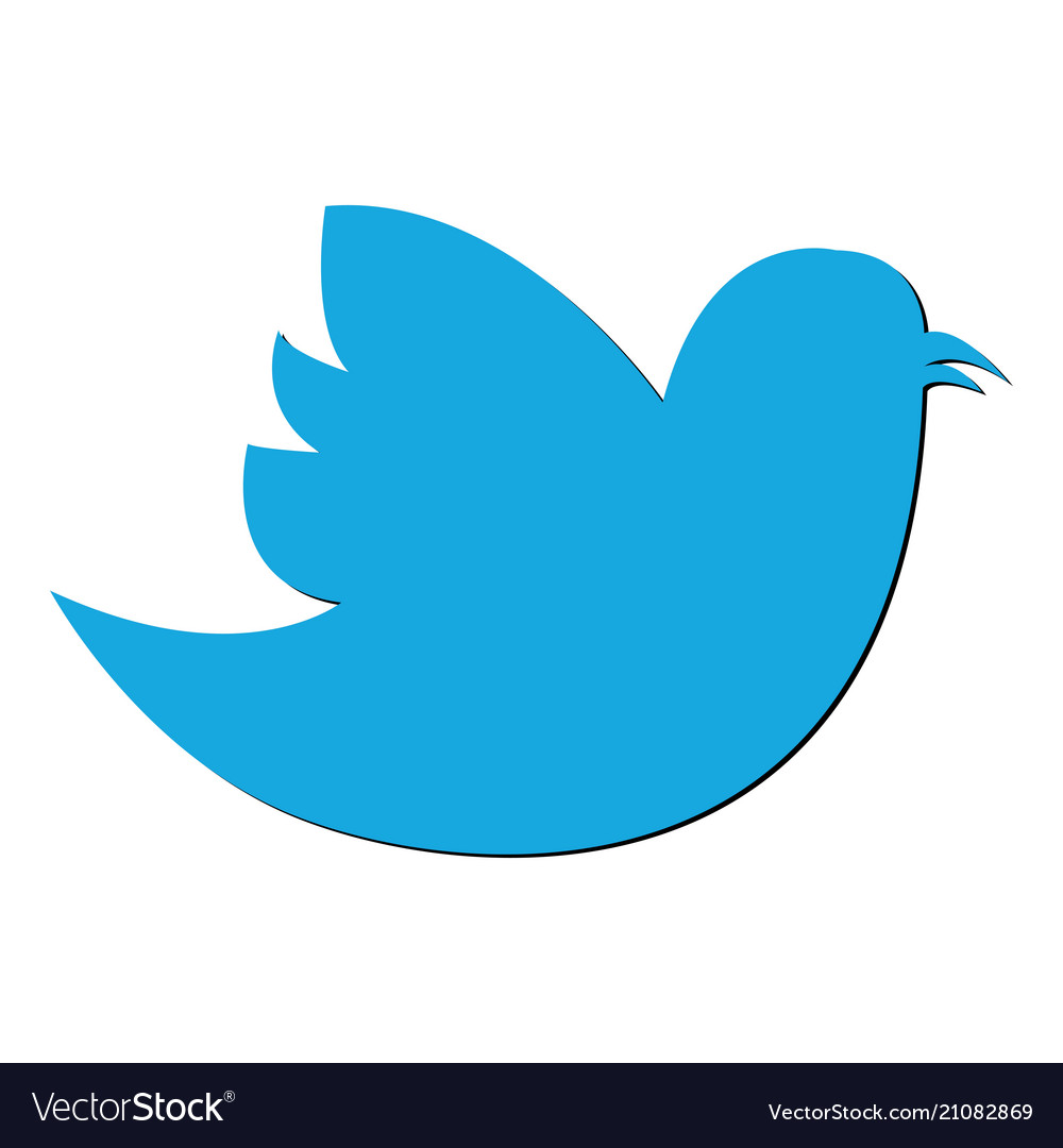 Social bird icon on background modern flat twitte
