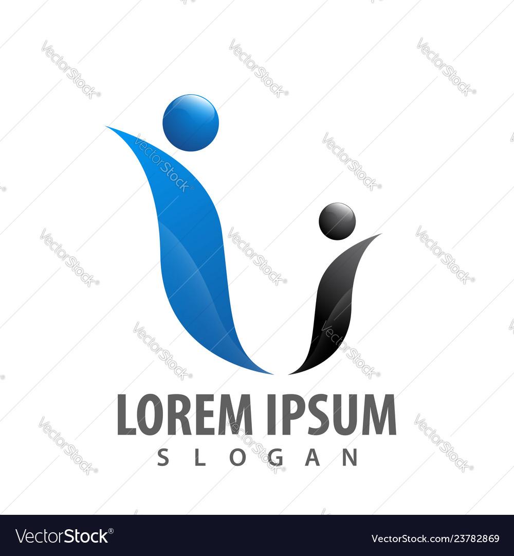 Two human character logo concept design symbol