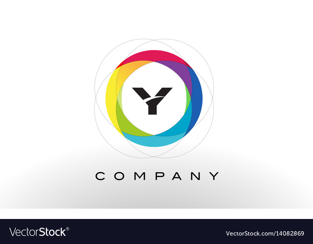 Y letter logo with rainbow circle design