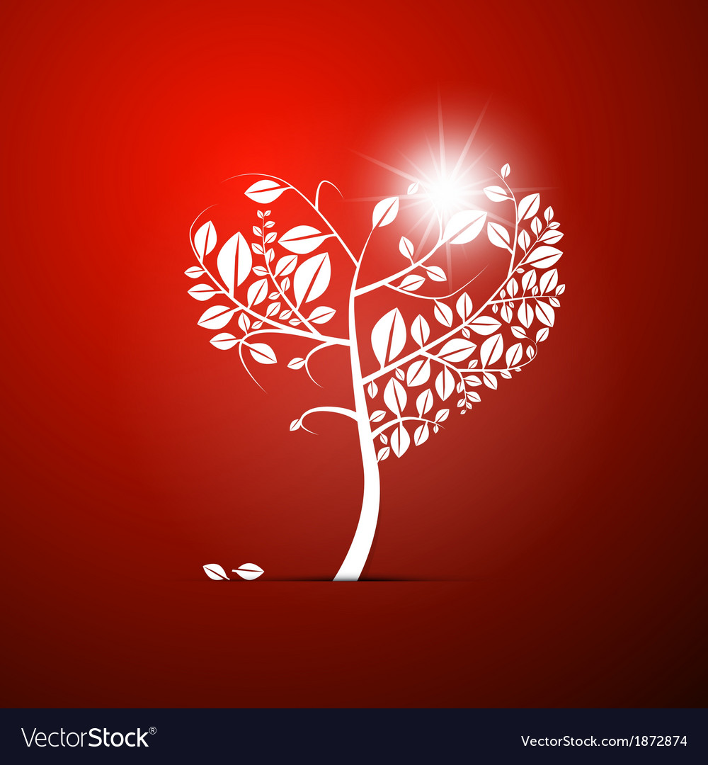 Abstract Heart-Shaped Tree on Red Background