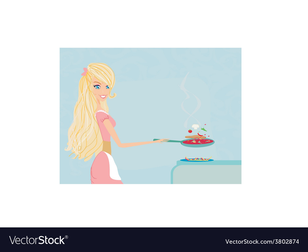 Beautiful young lady cooking lunch in the kitchen vector image