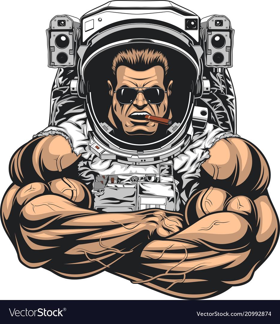 Bodybuilder in an astronaut suit