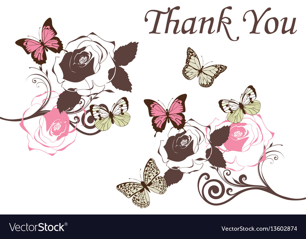 Butterflies vintage thank you