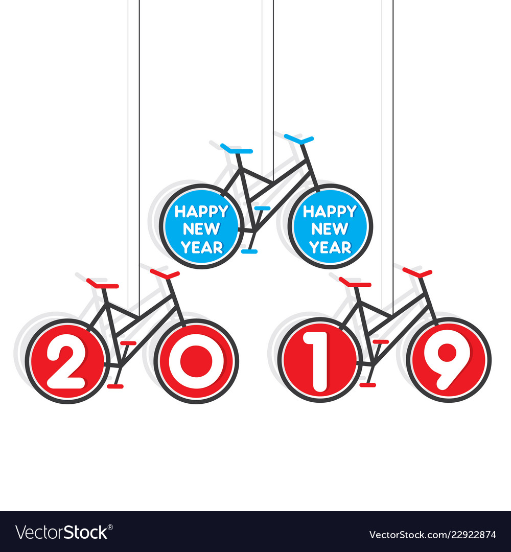 Colorful bicycle new year 2019 poster design
