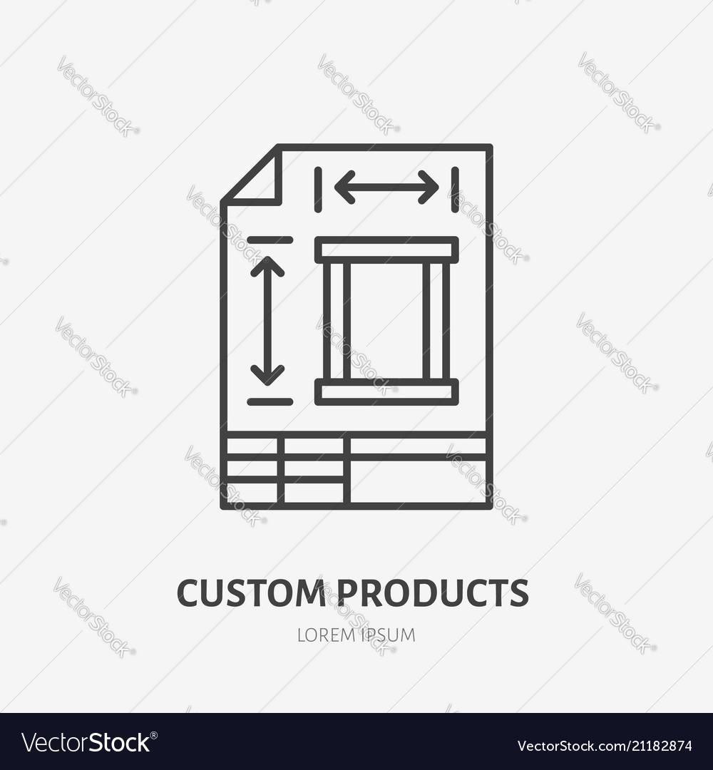 Engineering technical plan flat line icon custom