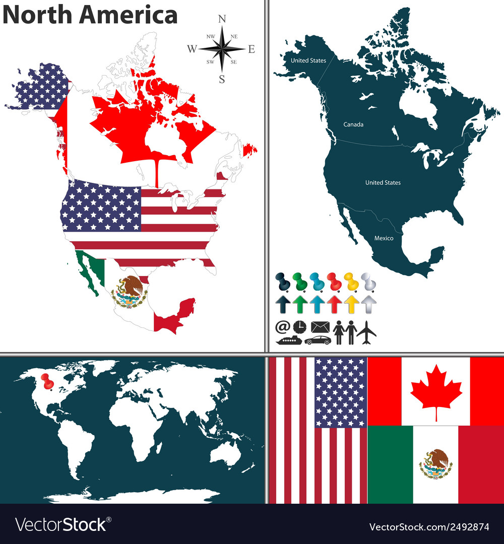 North America map with regions and flags