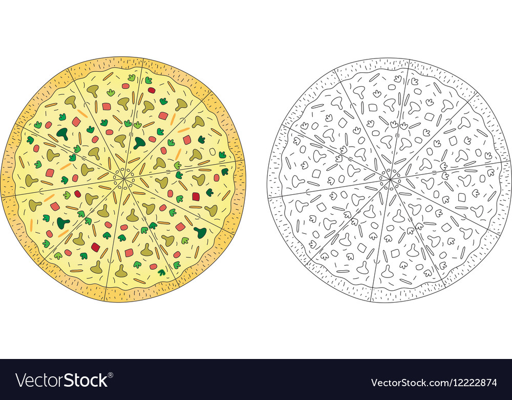 Pizza drawing color and pizza line black and