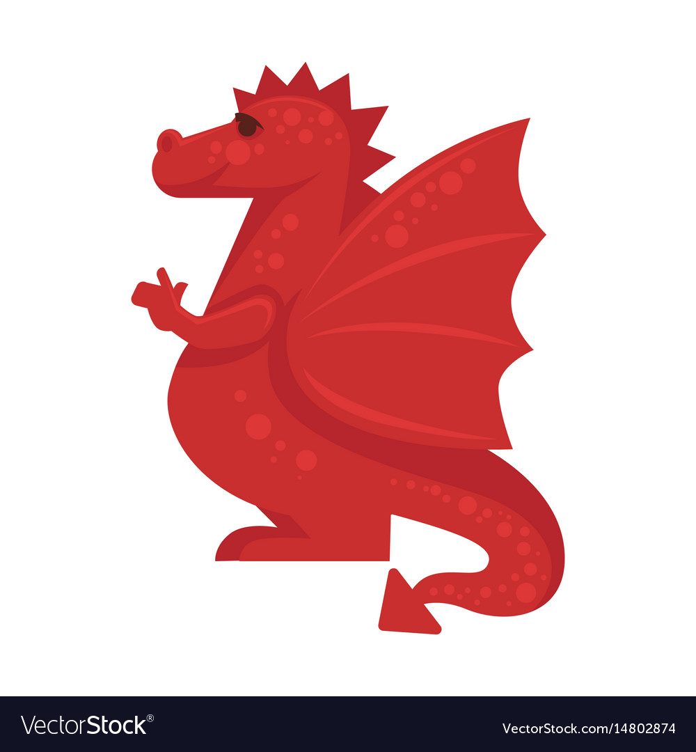Red dragon mythical monster giant reptile vector image