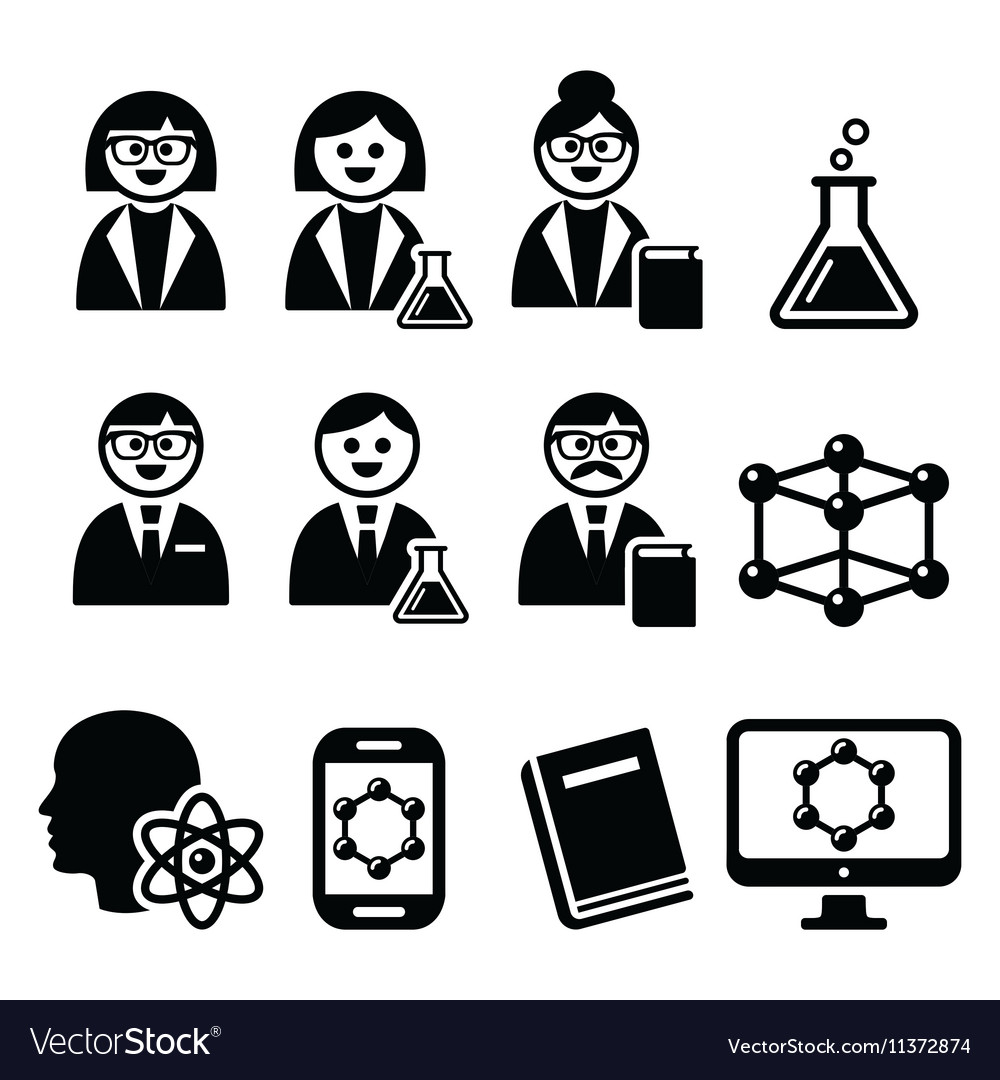 scientist woman and man science icons set vector image vectorstock
