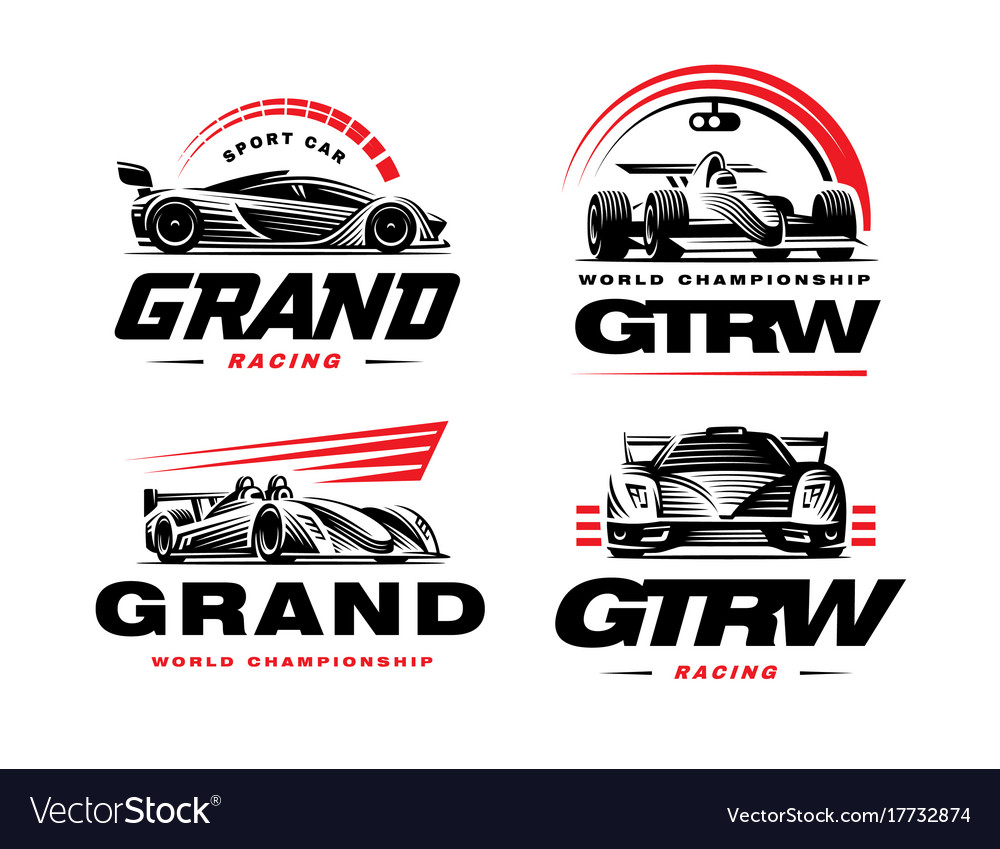Sport cars set on white background