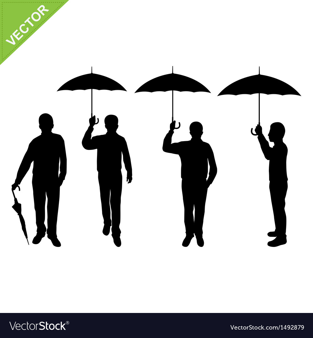 Business man silhouettes holding umbrella
