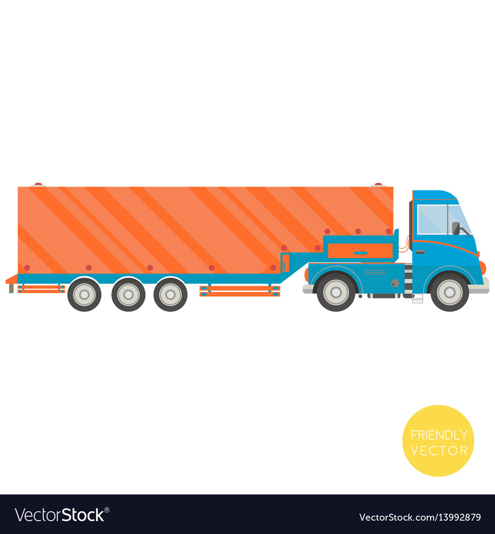 Cartoon transport semi trailer truck vector image