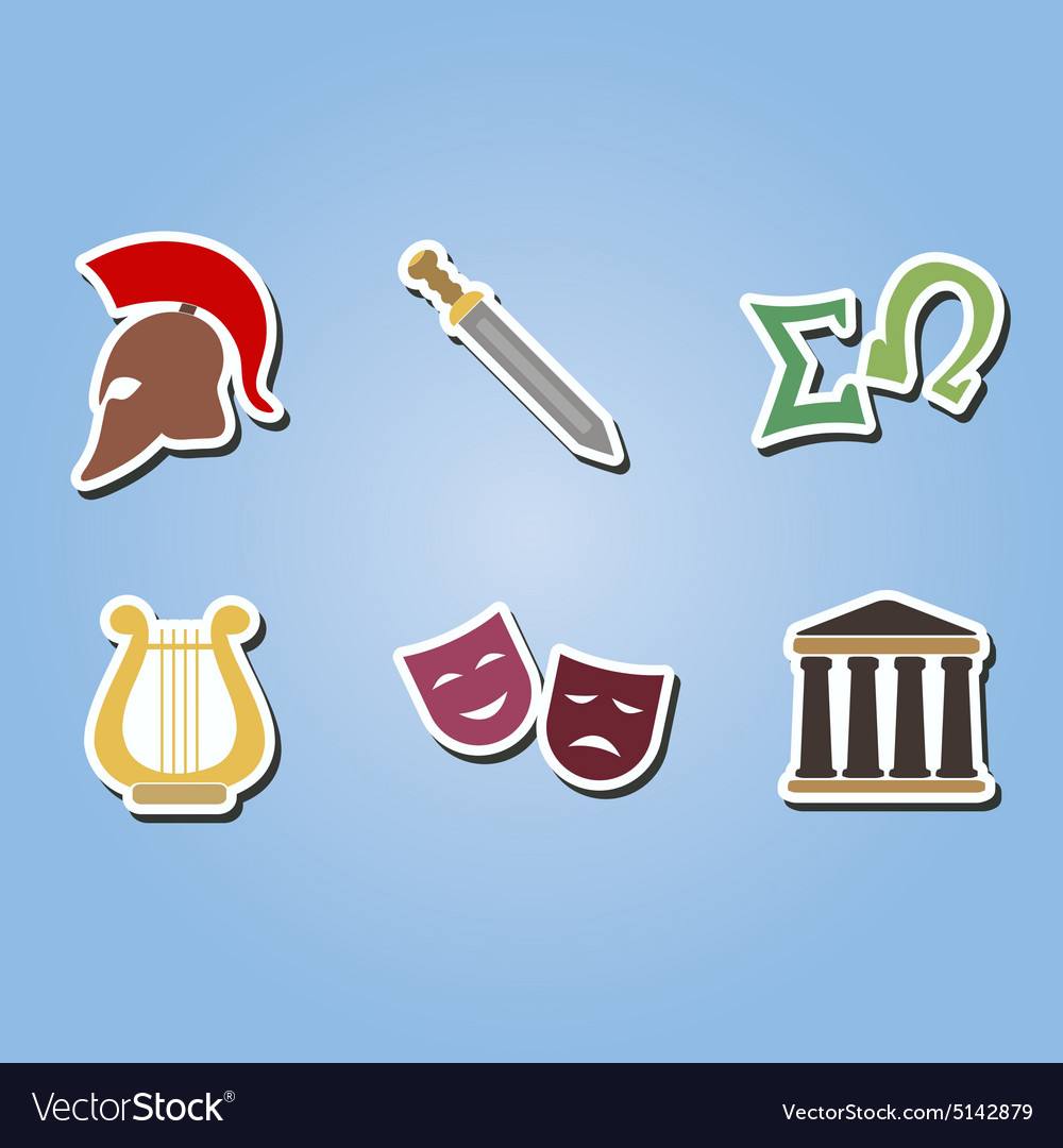 Color icons with greece symbols