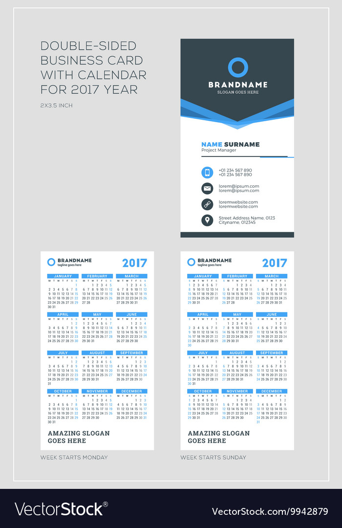 Double Sided Vertical Business Card Template With Vector Image