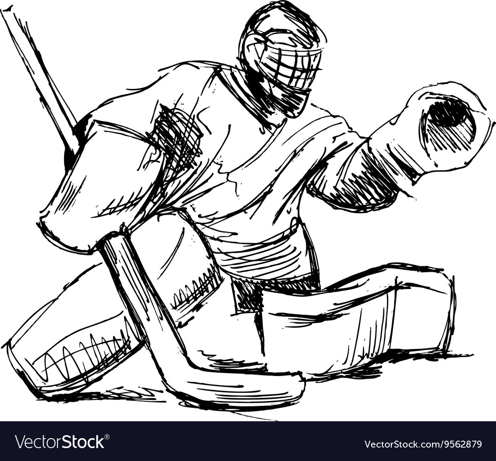 Hand Sketch Hockey Goalie Royalty Free Vector Image